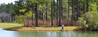 man fishing on lake at Paradise PFA